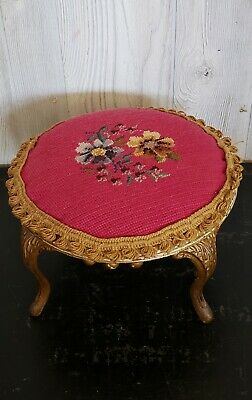 vintage victorian style footstool The Fair Jamestown with Needlepoint Tapestry
