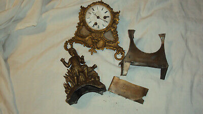Antique French Japy Fils mantle clock parts movement figural parts good springs