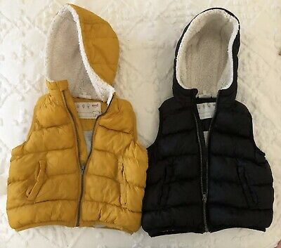 Kids Seed Puffer Vests Sz3 Mustard And Black