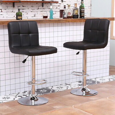 2x Bar Stools Chrome Base Gas Lift Swivel Faux Leather Kitchen Breakfast Counter