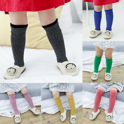 Baby Girl Child Cotton Shiny Candy Color High Knee Stockings Winter Warm Tights