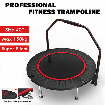 """40"""" Fitness Trampoline Gym Rebounder Jogger Home Cardio Exercise Arch Handrail"""