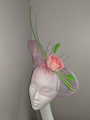 Pink And green Crinoline Fascinator, Weddings And Races
