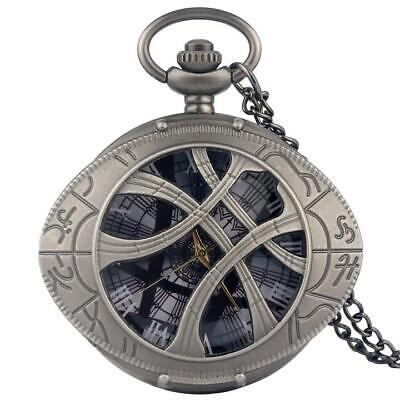 Doctor Who Theme Eye Half Hunter Quartz Pocket Watch Necklace Chain Pendant
