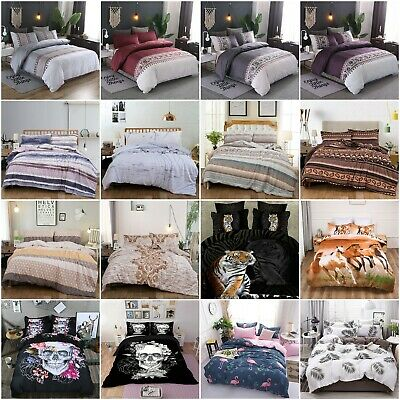 Skull Floral Doona/Duvet/Quilt Covers Set Single Double Queen King Size Bedding