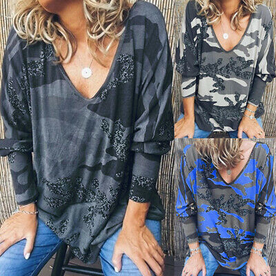 Womens Loose Long Sleeve Tee Shirt Camo Ladies Casual Blouse Baggy Holiday Tops