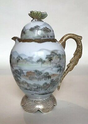 Antique Japanese Eggshell Porcelain Hot Water Jug with Butterfly Finial