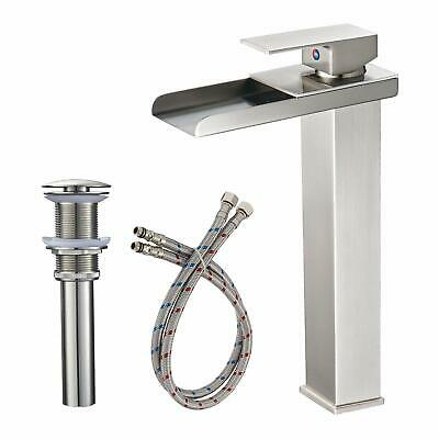 Rozin Brushed Nickel Waterfall Single Hole Bathroom Sink Faucet Basin Mixer Tap