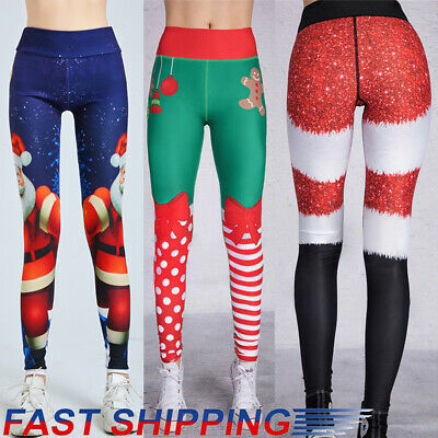 Women Christmas Leggings Sports Fitness Workout Running Yoga Gym Pants Casual