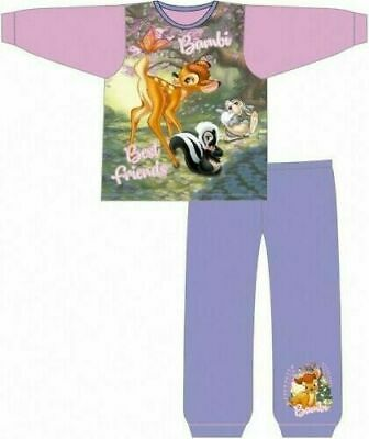 Disney Bambi Pyjamas Childrens Kids Girls Pink Purple PJs Age 18 Months-5 Years