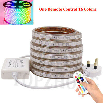 Dimmable 5050 SMD RGB LED Strip Rope Tape 220V Waterproof IP67 UK Plug + Remote
