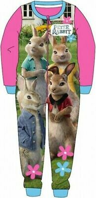 Peter Rabbit Pyjamas Childrens Kids Pink One Piece PJs Age 18 Months-5 Years
