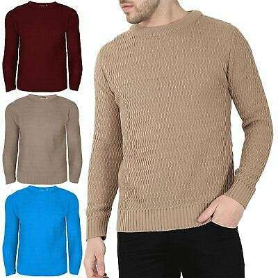 Mens Boys Snake Chunky Cable Knitted Sweater Sweats Long Sleeve Crew Neck Jumper