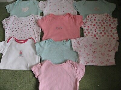 10 x Baby Girls Body suits / vests Age 18-24 months short sleeve Some F&F ExcCon