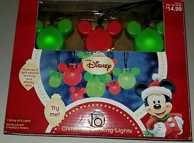 Disney Mickey Mouse Christmas String Lights Blinking or Steady Head