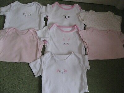 7 x Baby Girls Body suits / vests Age 12 - 18 months short sleeve TU Excel Cond