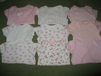 9 x Baby Girls Body suits / vests Age 3-6 months short sleeve Excel Cond (SET A)