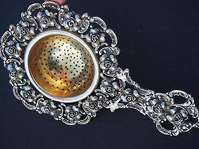Fratelli PERUZZI Silver 800 Baroque Highly Repousse Roses Tea Strainer 1930's