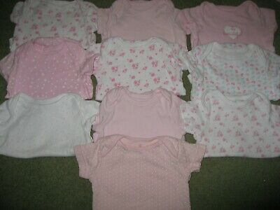 10 x Baby Girls Body suits / vests Age 3-6 months short sleeve Excel Con (SET B)