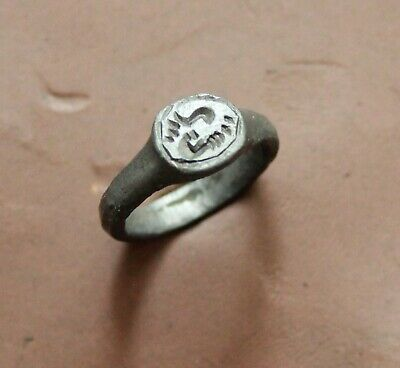 Ancient Roman Bronze Inaglio Seal ring  d size =15mm 3g nice Quality Patina Rare