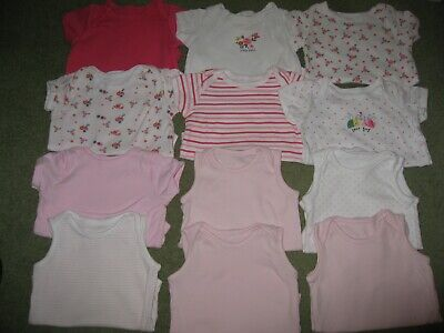 12 x Baby Girls Body suits / vests Age 6-9 months short sleeve & s.less Exc Cond