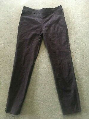 Jigsaw Black Jacquard Damask Print Smart Cigarette Trousers Size 12