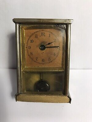 Antique Carriage Clock Mini Nickel Brass With Pendulum
