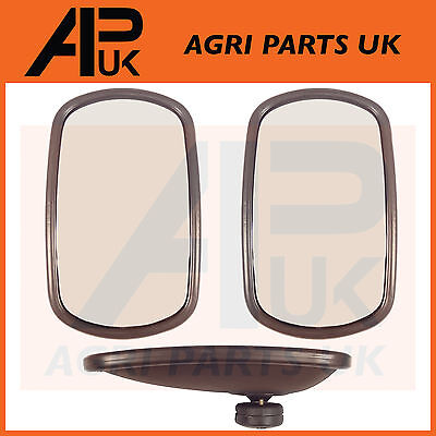 """Pair of Universal Wing Mirror Head & Glass 10"""" x 6"""" Tractor Digger Lorry Truck"""