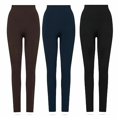 Damen Winter Thermo-Leggings warm gefüttert Taille Hoch-Bund 36 38 40 42 44