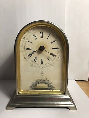 Antique Carriage Clock 1880s Nickel Brass