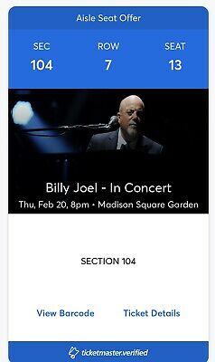 2 (or 4) Billy Joel MSG NYC 2-20-20 Lower Level Premium Seats Section 104 Row 7