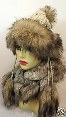 Beige Faux Fur Beanie Winter Ski Hat And Matching Scarf With Fur Pom Poms Jlo
