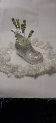 Bone China Boot Pin Cushion with Pins