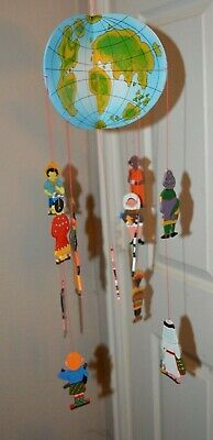 International Theme People of the World Wood Hanging Decorative Mobile