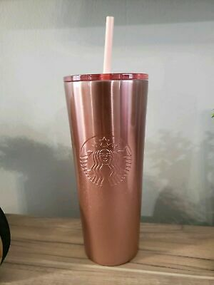 NEW Starbucks 2019 Stainless Steal rose gold pink tumbler Holiday Xmas Rare