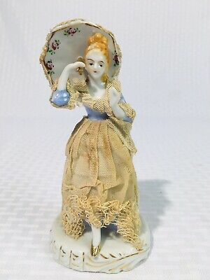 Dresden Figurine Muller Volkstedt Irish Porcelain Lace Lady Figure Wales