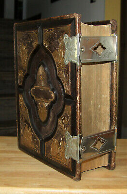 c1890 antique family Holy Bible  CLASPS very nice!!
