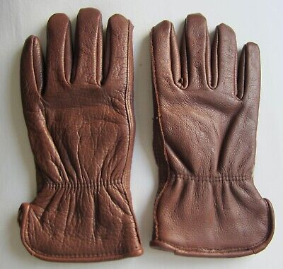Vintage Quality leather gloves brown warm fabric lining  wrist size 61/2 or 7