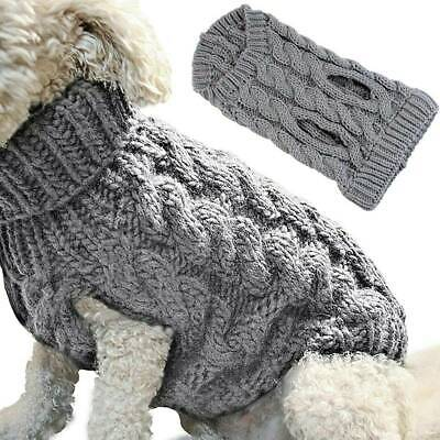 Puppy Pet Dog Clothes Winter Warm Grey Knitted Knitwear Jumper Sweater Chihuahua