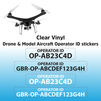 Drone Operator ID Stickers UK CAA Regulatory Identification Labels (Pack of 8)