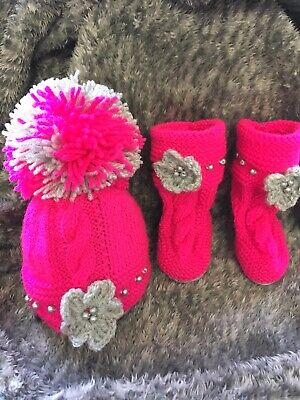 Hand knitted baby hat And Boots