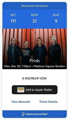 2 Phish Tickets 12/30/19 MSG Madison Square Garden Section 111 Row 21 Seats 9,10