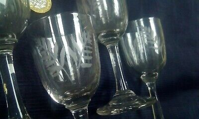Victorian Fern Engraved Set of Four Drinking Glasses 19th Century Antique