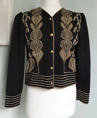 Vtg 80s Black Gold Military Style Cropped Cardigan Sz 12 Gold Buttons Puff Slvs