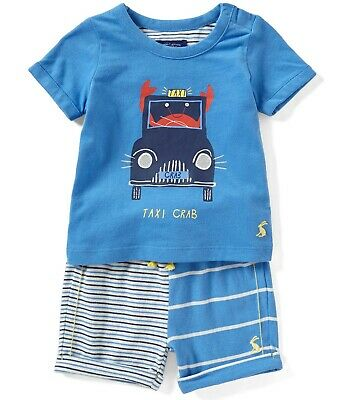JOULES Infant Boys Short-Sleeve Taxi Crab T-Shirt & Striped Shorts 2 Pc Set, NWT