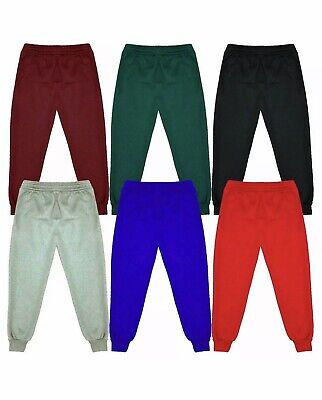 Kids Children`s Warm Fleece Jogging Bottoms School Plain Joggers Pants 2-14...
