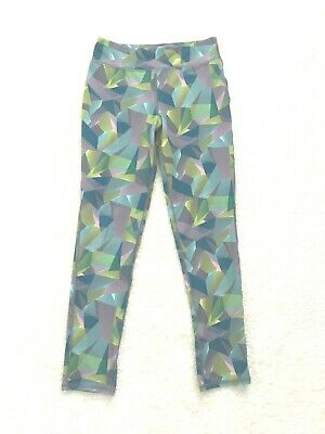MTA Sport Girls leggings blue patterned size Youth Large 10/12