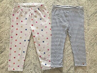 2 Pairs GAP & PUMPKIN PATCH Girls Dot Stripe 3/4 Leggings Sz 10