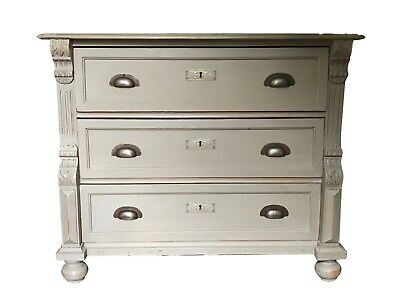 Antique Pine French Linen Grey Painted Gustavian Style Carved Chest Of Drawers