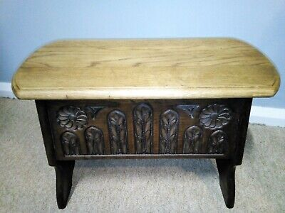 Antique Quality made oak small coffer / stool with lid storage. carved carvings